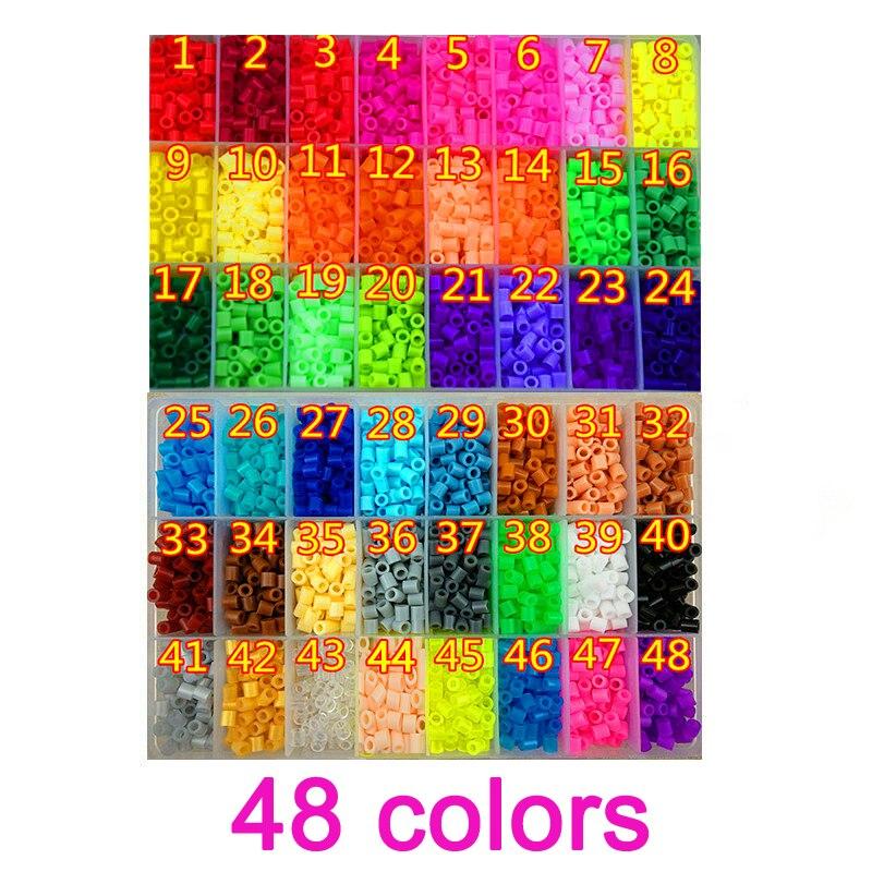 48 cuentas Perler de Color, 5000 Uds. Cuentas de planchado 5mm Hama, cuentas fusible, rompecabezas diy