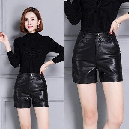 2019 nueva piel de oveja cintura alta delgada pantalones cortos de cuero ancho KS42