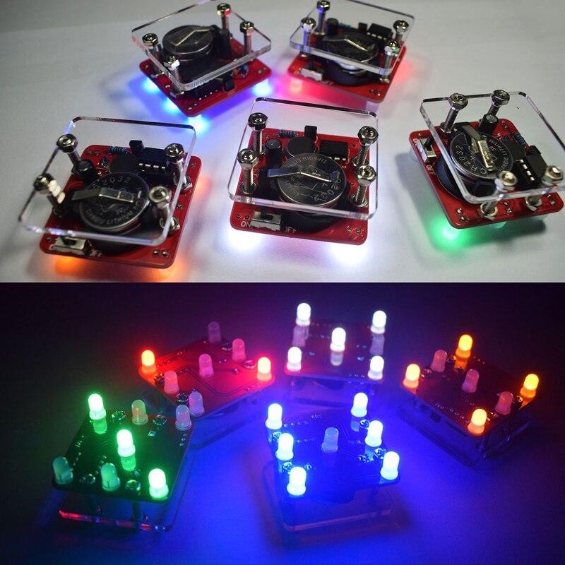 DIY Swing temblando LED dados Kit con pequeño motor vibración Diy Kits electrónicos sin Battery-m30