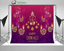 Happy Diwali Festive Gold Diya Crystals Color backdrop polyester or Vinyl cloth High quality Computer print wall Background