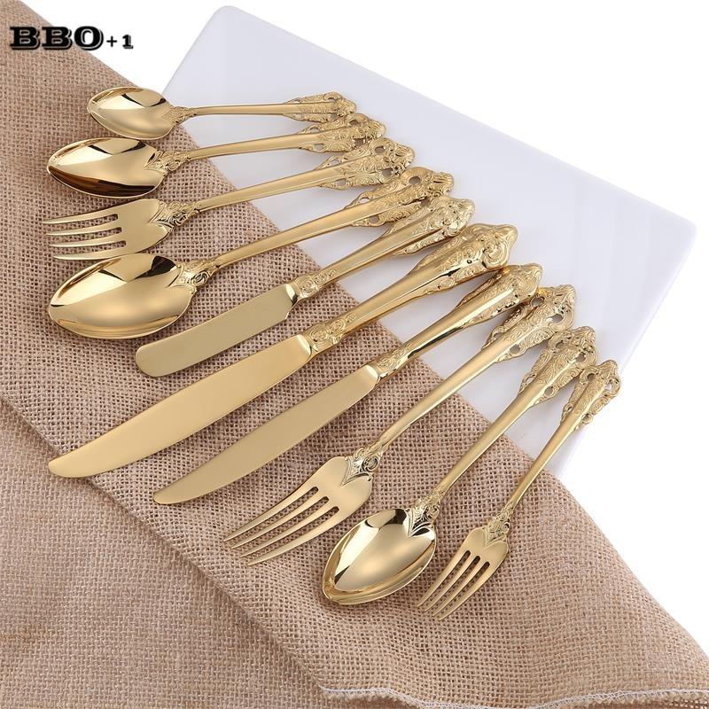10pcs/set Golden Cutlery Gold Flatware Wedding Christmas Dinnerware Dinning Set Xmas Gift Stainless Steel Knife Forks Teaspoon