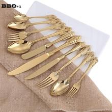 10 pièces/ensemble couverts dorés couverts en or mariage vaisselle de noël ensemble de vaisselle cadeau de noël couteau en acier inoxydable fourchettes cuillère à café