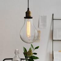 TEARDROP CLEAR GLASS FILAMENT SINGLE PENDANT lamp transparent Vintage bulb loft Bar suspension Light hanging lighting water drop