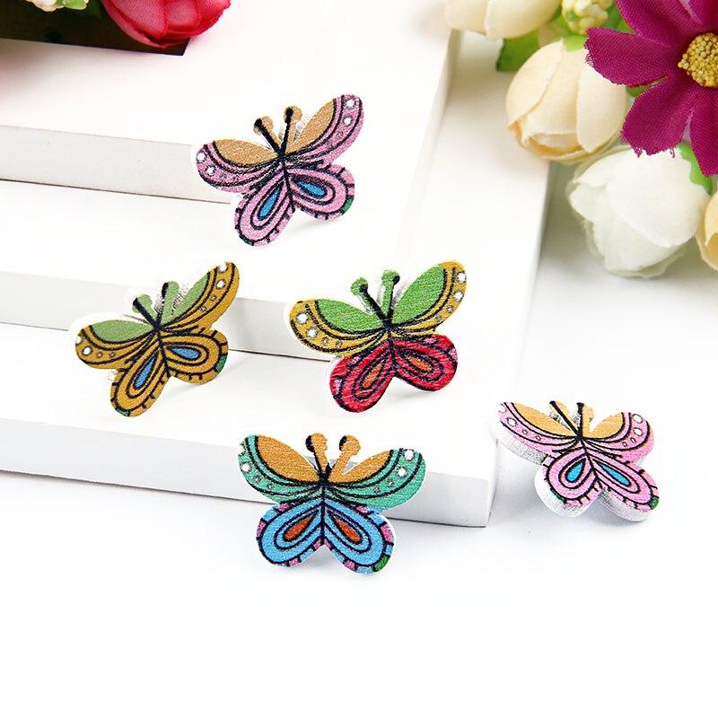 50Pcs 27*20mm Multiy Farbe Nette Schmetterling Botones Knopf Keine Löcher Druck Holz Knöpfe Scrapbooking Nähen Zubehör