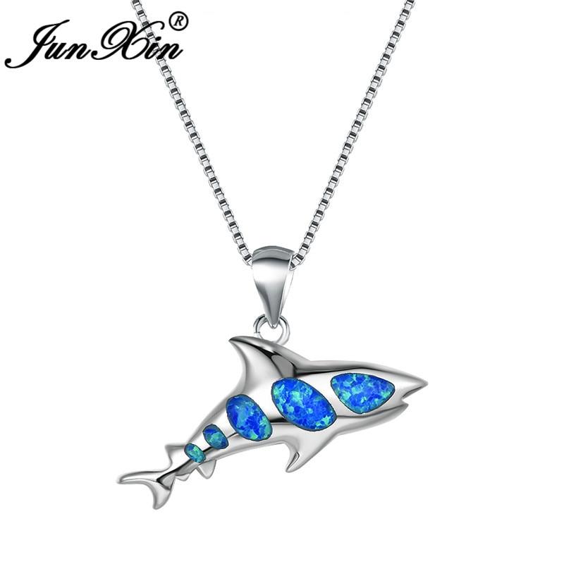 Colgante JUNXIN de oro blanco lleno de tiburón azul blanco fuego ópalo collares para mujeres lindo pescado collar mujer boda joyería