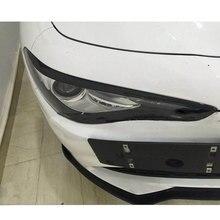 Paupières de phare de sourcil de phare avant de Fiber de carbone pour Alfa Romeo Giulia Quadrifoglio berline 2015-2018 style de voiture