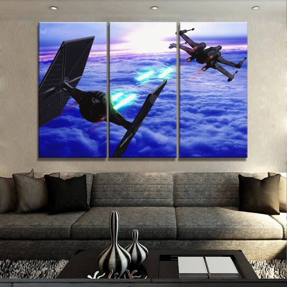 Impressão em tela moderna da arte pintura para sala de estar parede imagem um conjunto 3 painel star wars filme aviões combate cartaz decoração casa