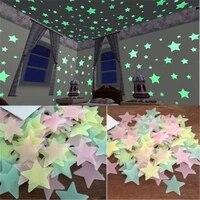 Autocollants muraux etoiles 3D phosphorescents  decoration lumineuse pour chambre denfant et bebe  plafond de la maison