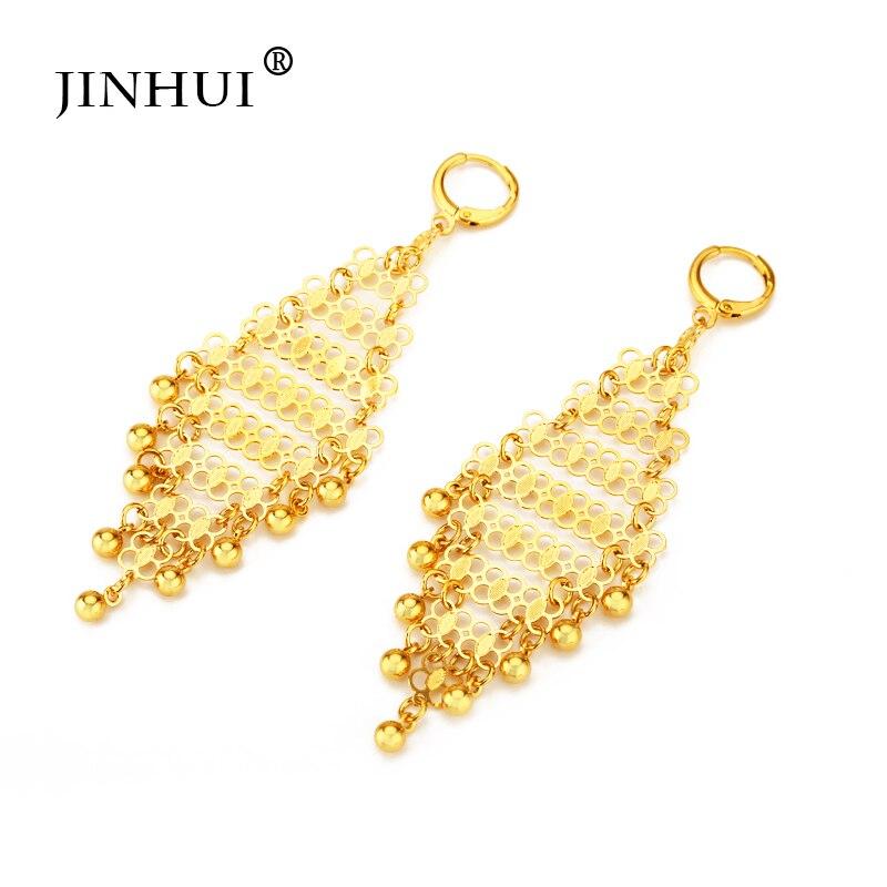 Jin hui dubai áfrica mulher nova cor de ouro brincos longos pingente jóias presente enviar amigos festa ornamento brincos de luxo presentes