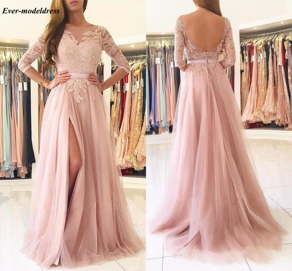 Blush różowe suknie dla druhen 2021 Sexy-line wysoki podział Backless koronki z długim rękawem długość podłogi gości weselnych suknia na bal maturalny