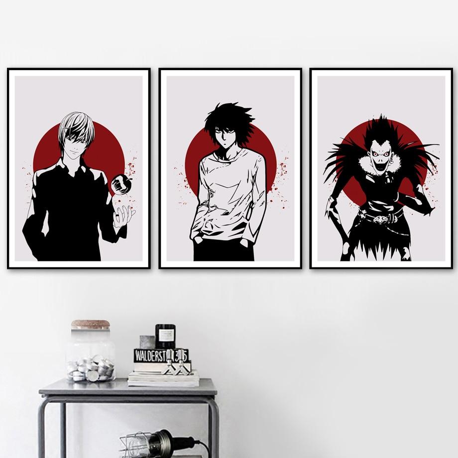 Carteles e impresiones de figuras de Anime Death Note, cuadro sobre lienzo para pared, póster nórdico, cuadros de pared para arte de sala de estar, impresiones decorativas