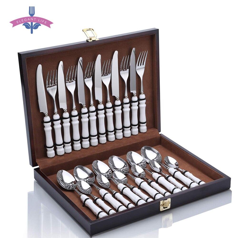 24 Uds Set de Cubiertos de acero inoxidable y vajilla de cerámica de alimentos cuchillo tenedor cuchara para la cocina fiesta caja de regalo de madera