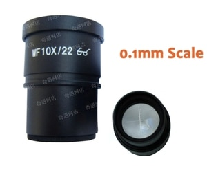 1PC WF10X/22mm High Eyepoint Eyepiece for Zoom Stereo Microscope with Mounting Size 30mm and Reading Scale Reticle Ruler 0.1mm
