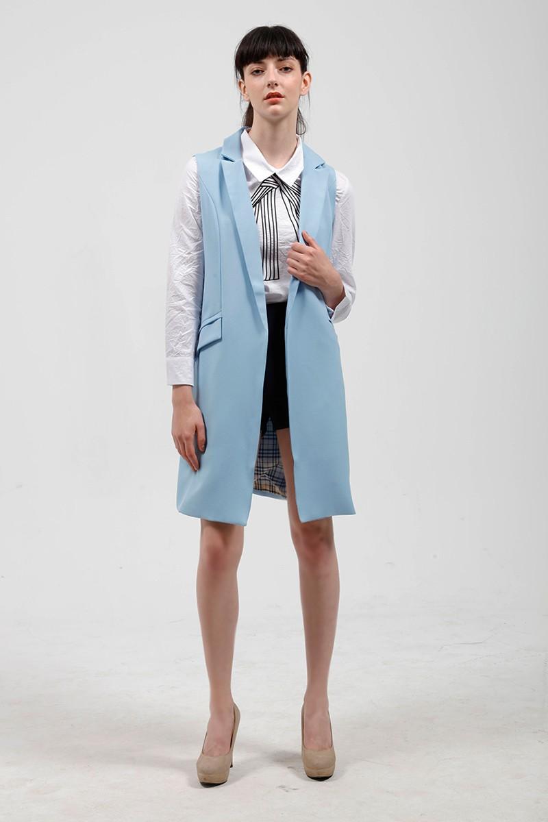 2017 wiosna nowy mody długie kieszenie turn-dół collar otwórz stitch pantone niebieski różowy beżowy czarny żakiet kamizelka bez rękawów kurtki 13