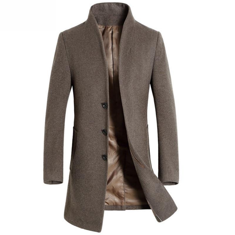 Chaquetas y abrigos de lana informales de invierno para hombre, chaqueta de abrigo de lana marrón ajustada para negocios, prendas de vestir de lana para hombre