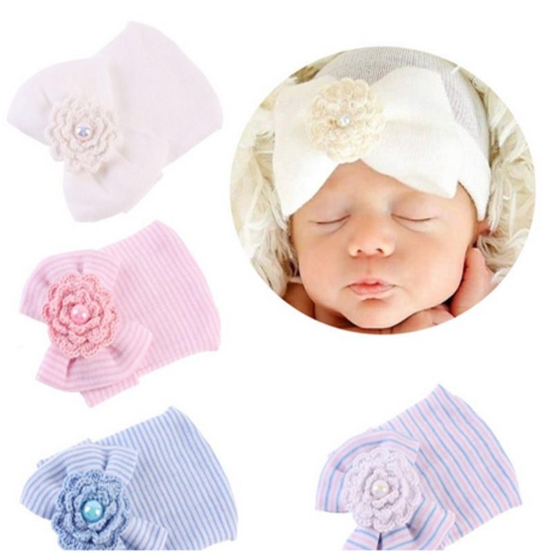Häkeln Nette Neugeborene Kappe Baby Mädchen Jungen Infant Hüte Mädchen Kleinkind Comfy Bowknot Krankenhaus Cap Striped Beanie Hut Kleinkind 0-3M