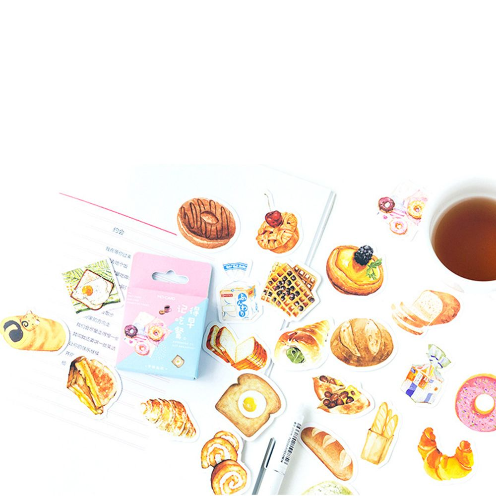46 PCS Erinnern zu essen frühstück Dekorative Aufkleber set Klebstoff Lebensmittel Brot DIY Dekoration Tagebuch Aufkleber
