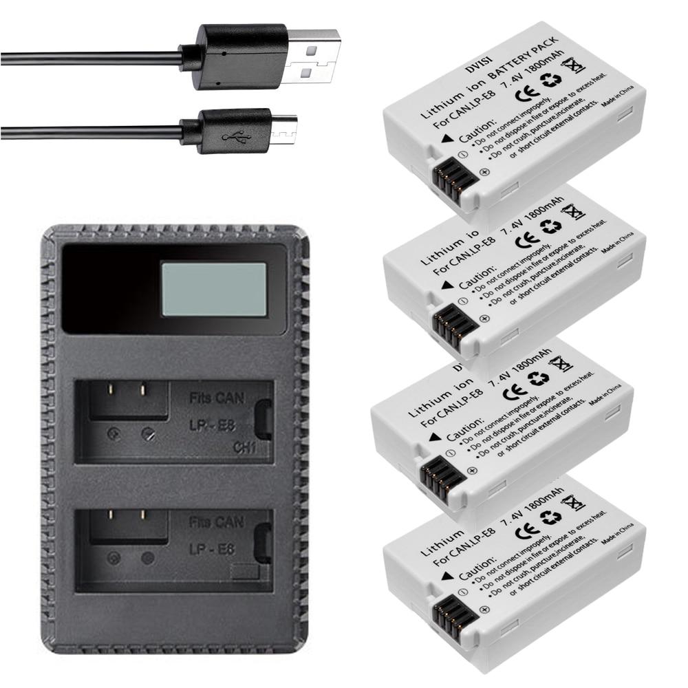 DVISI 4 Uds 1800mAh LP-E8 LP E8 batería de la Cámara AKKU...