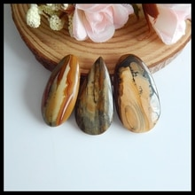 3 pcs Semi-precious stones Natural Gemstone Us Picture Jasper fashion pendants Cabochons ,35x17x4mm,3.4x15x6mm,13.2g