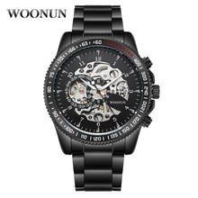 NEW Mechanical Watches Mens Skeleton Watches Top Brand Luxury Steampunk Black Stainless Steel Automa