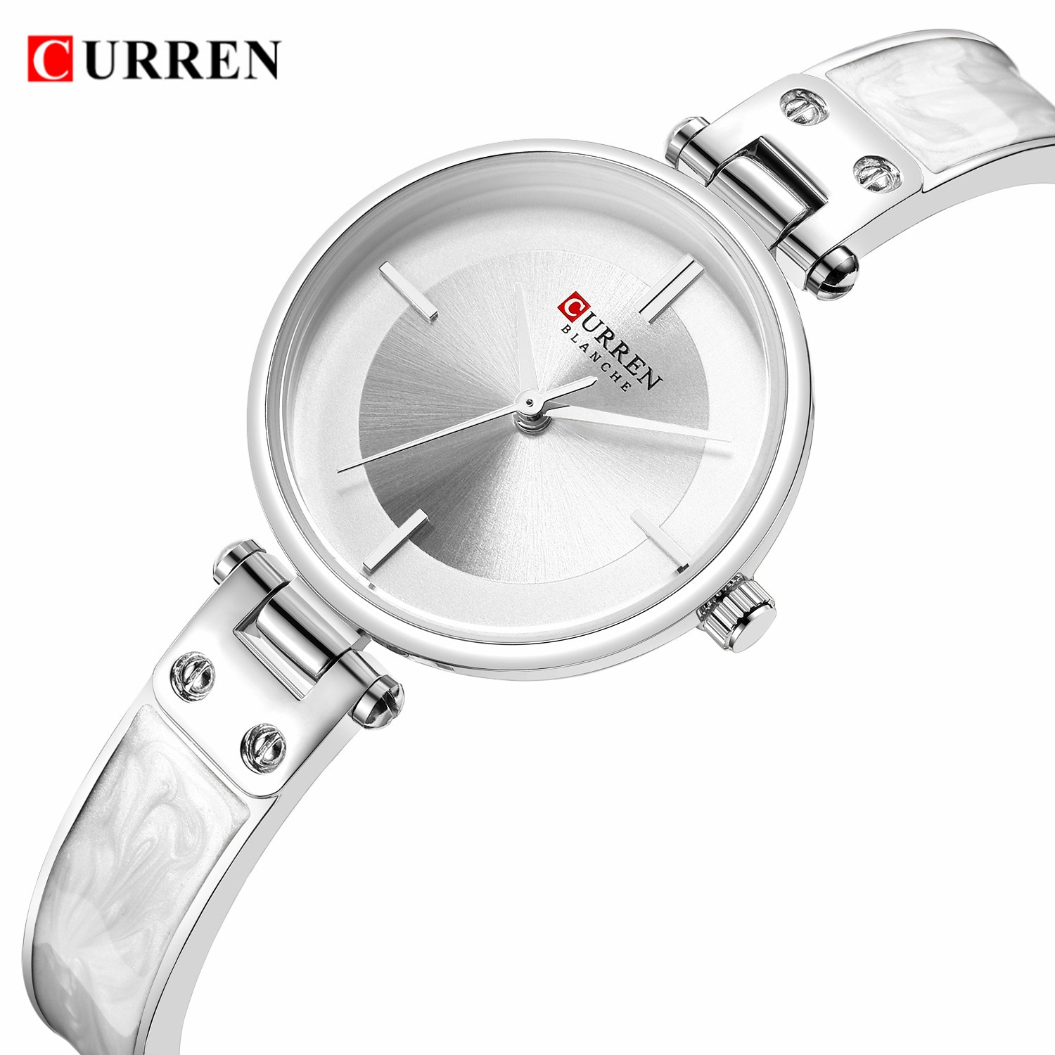CURREN Women Watches Silver White Ultra-Thin Case Quartz Wristwatch Steel Bracelet Relogio Mujer Clock Waterproof Dropship 2019 enlarge