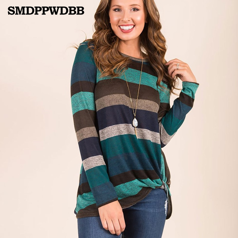 SMDPPWDBB suéter de maternidad Tops mujer otoño a rayas de manga larga de talla grande pulóveres mujeres elegantes suelta ropa femenina cuello redondo