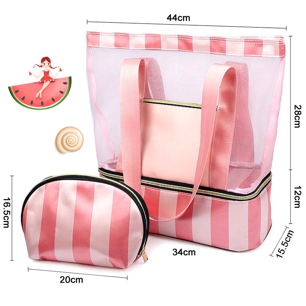 Bolsa de natación para mujer de 34x15,5x40 cm, bolsos de malla, bolsas de baño húmedas y secas, bolsas de red de viaje para piscina, bolsa para playa, colección