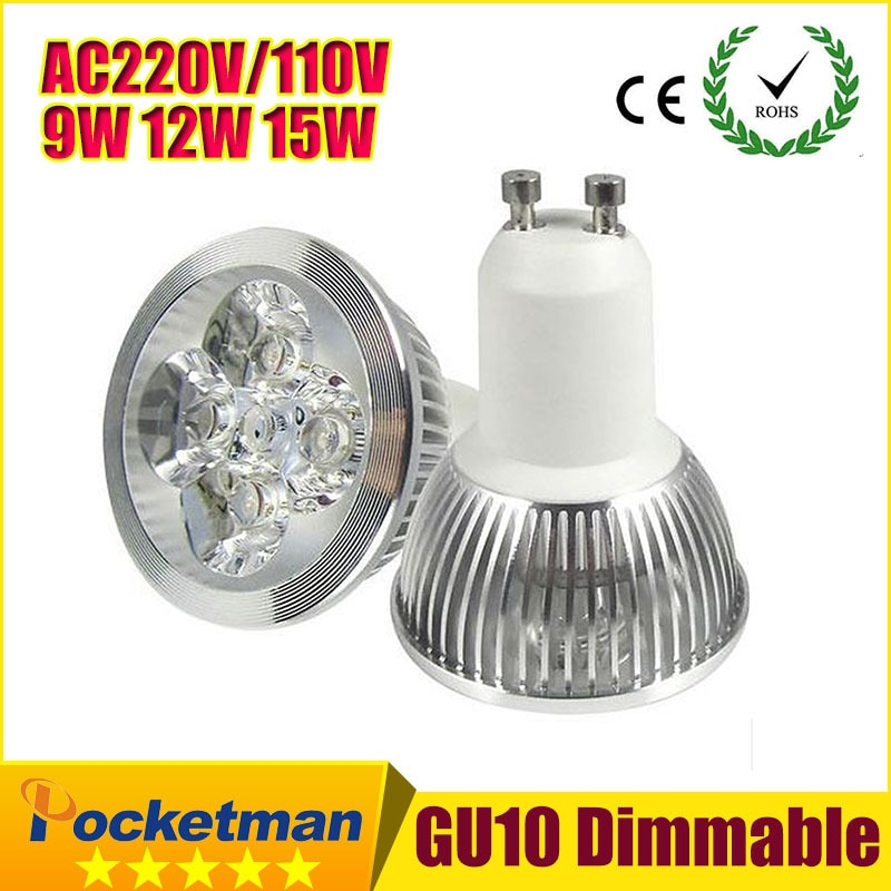 X1 envío gratis de alta potencia GU10 E27 GU5.3 E14 MR1612V W 9 W 12 W 15 W 85-265 V regulable foco Led bombilla LED Downlight