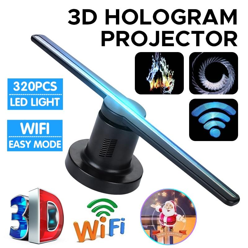 42cm 3D Wifi holograma proyector ventilador con 16G TF 224 LEDs holográfica Pantalla de reproductor de lámpara holográfica publicidad de holograma de Navidad luces