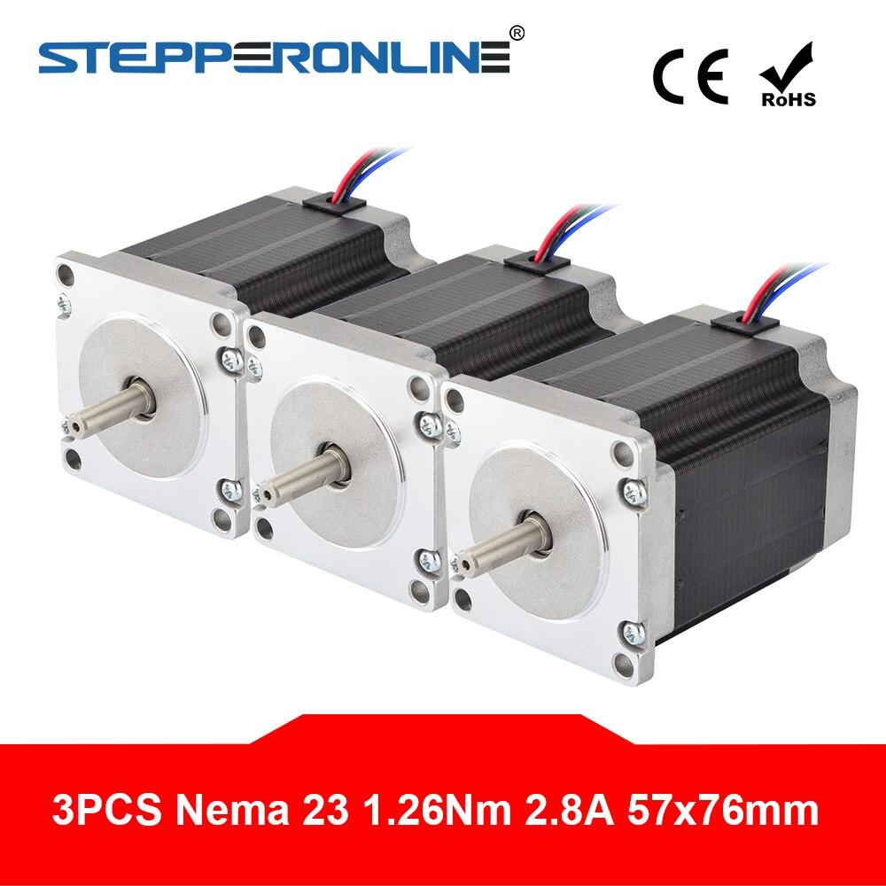 3 uds Nema 23 Motor de pasos 1.9Nm (269 oz) 76mm 2.8A 4-plomo Nema23 de Motor paso a paso del eje 6,35mm DIY fresadora cnc Router