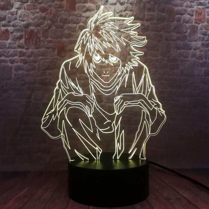Modelo de la muerte Nota L Figma luz modelo 3D ilusión lámpara LED 7 cambio de color luz nocturna Japón Manga Anime figura Juguetes