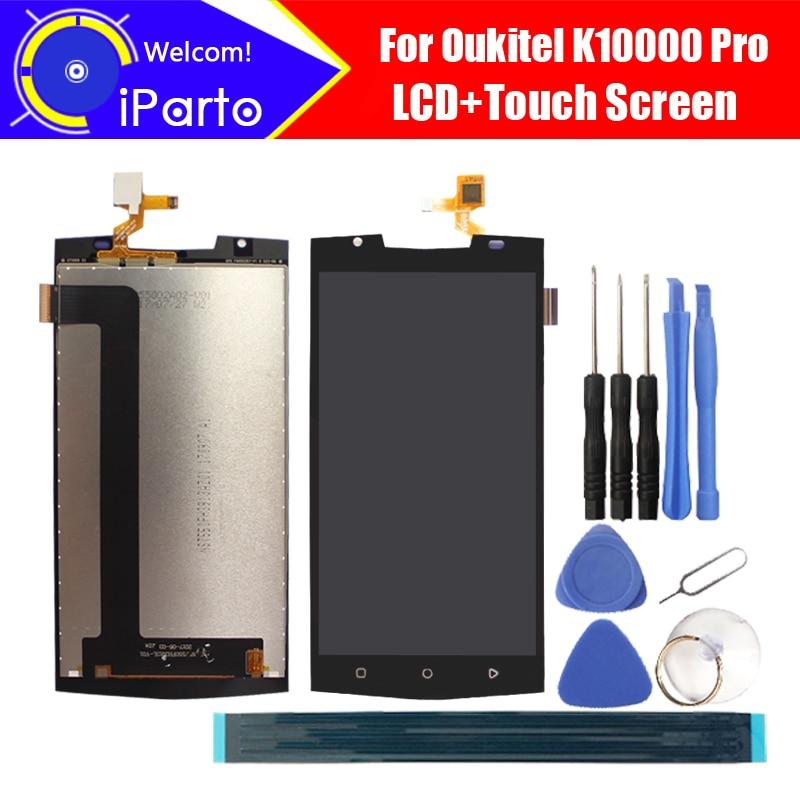 Tela de lcd 5.5 oukitel k10000 pro, painel de vidro original testado para montagem de digitalizador de tela touch screen k10000 pro