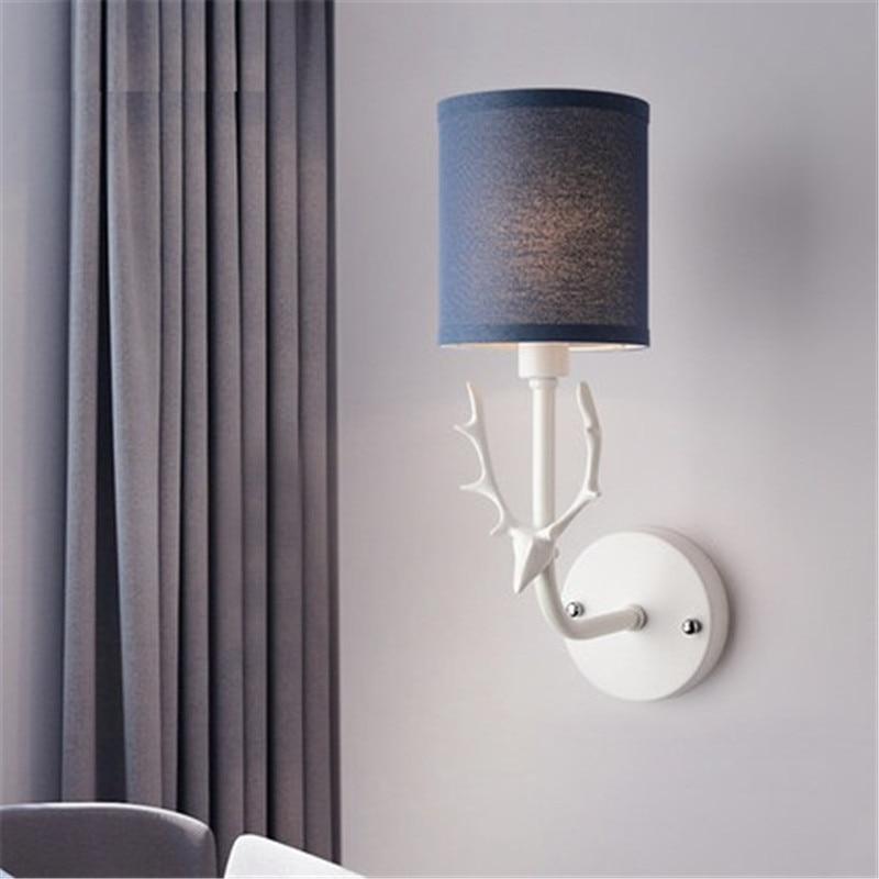 Lámpara de pared de tela Simple, lámpara creativa con cuernos, luz led moderna de pared, accesorios para el hogar, candelabro de pared, iluminación interior