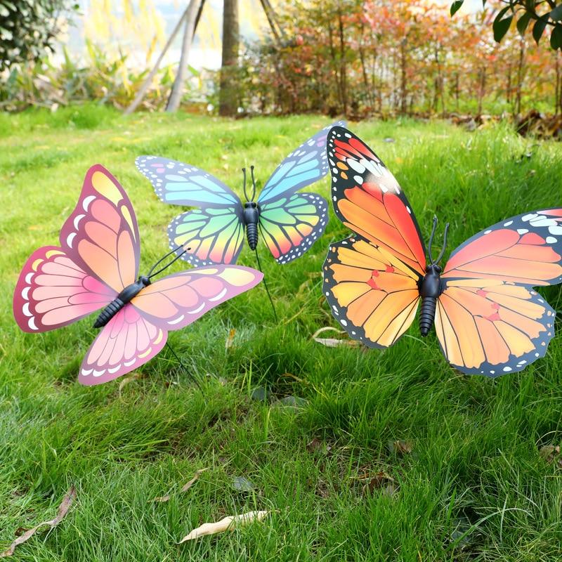 1 stücke 30cm Zufällige Farbe Künstliche Schmetterling für Garten Dekorationen Gefälschte Simulation Schmetterling Stakes Hof Anlage Rasen Decor A