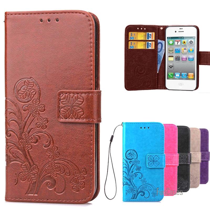 Lujosa carcasa para iPhone 4S estilo libro Cartera de cuero + funda...