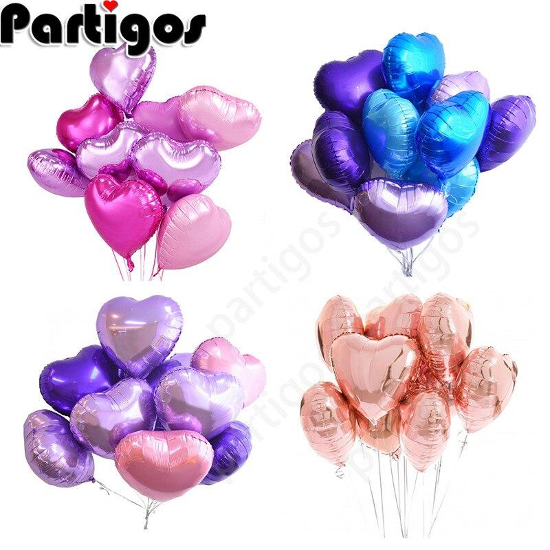 9 шт 18 романтические шары в виде сердца жемчуг Фиолетовый Розовый Фольга гелий любовь воздушный шар Свадьба День святого Валентина воздушн...