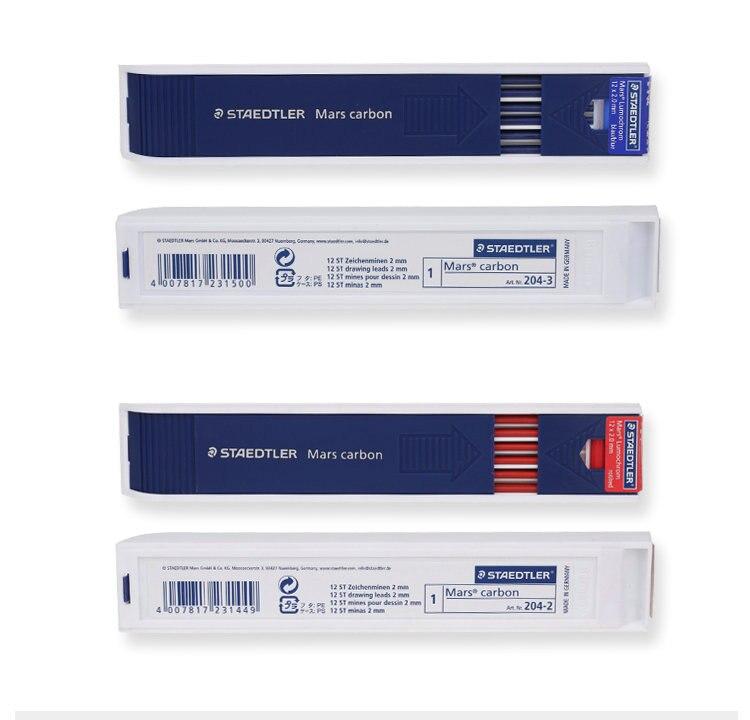 Staedtler 204 mars 2 mm recargas hb colorido leads para leadholder mecânico-vermelho/azul 2 cores disponíveis