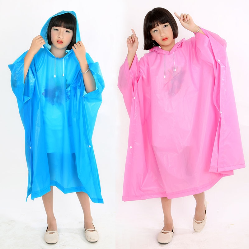 1 Poncho de lluvia no desechable para viaje, ropa de lluvia, abrigo, accesorios de senderismo al aire libre, impermeable para niños, impermeable al agua