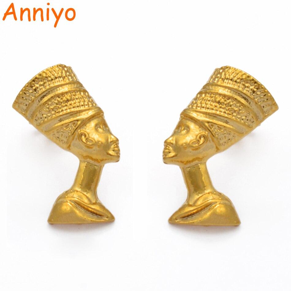 Anniyo egípcio rainha nefertiti parafuso prisioneiro brincos jóias para mulheres meninas cor do ouro atacado africano jóias presentes #204606
