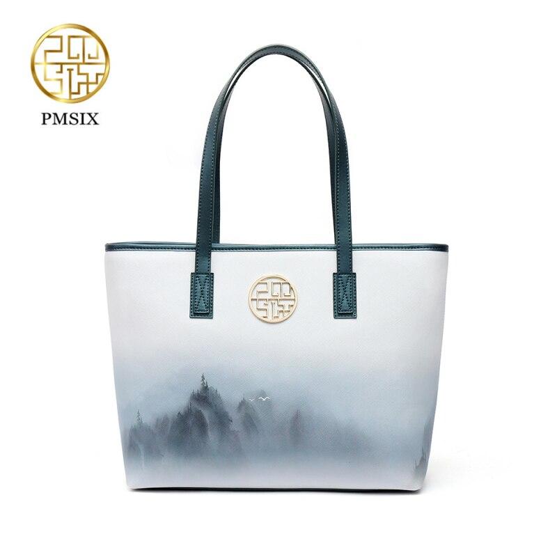 PMsix 2021 موضة جديدة حبر نمط بولي Leather جلد النساء حقيبة يد الماركات الشهيرة السيدات حقيبة كتف المرأة البيضاء حقائب بيد Bolsas