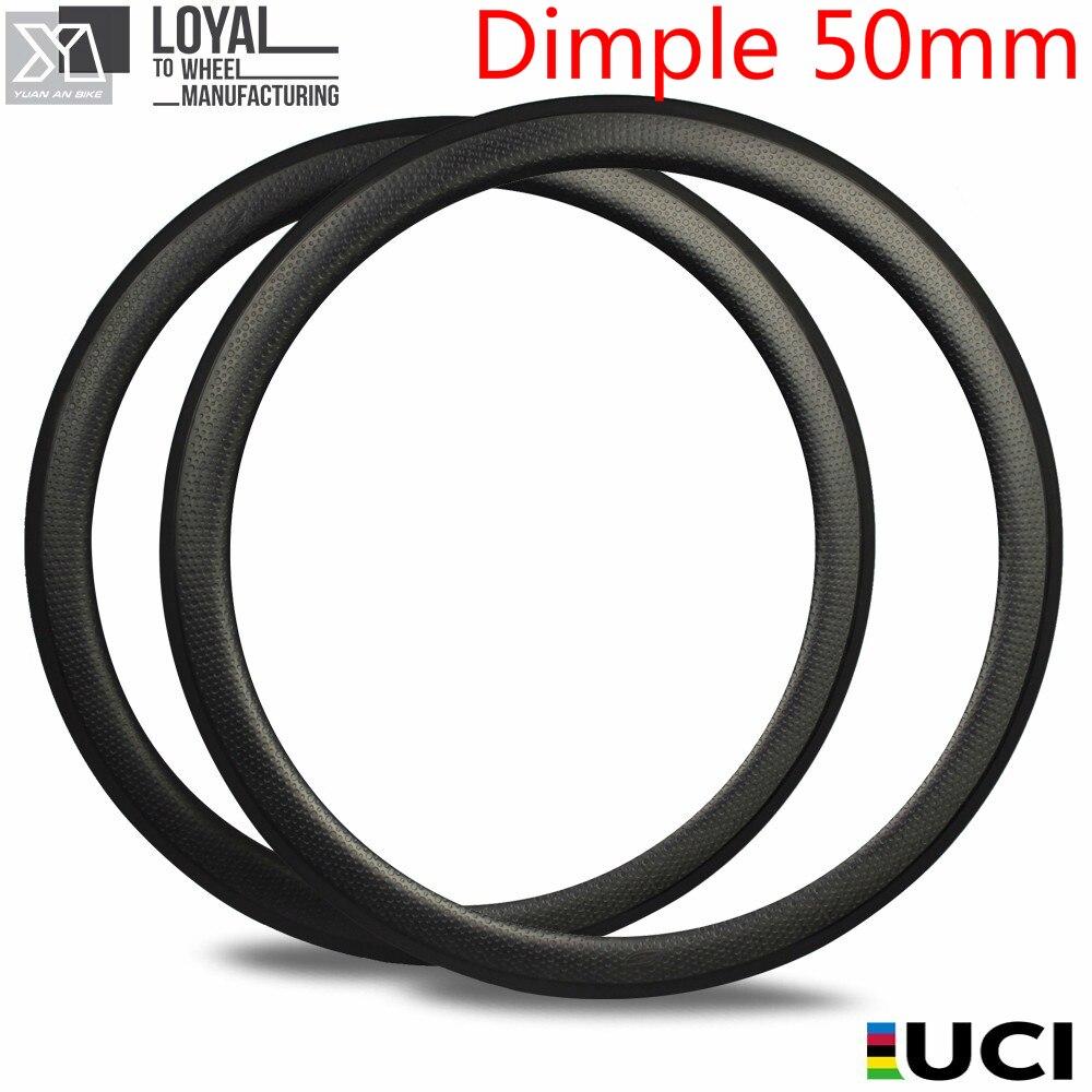 700c Dimple клинчерный обод из углеродного волокна, трубчатые бескамерные гольфы для езды на велосипеде, циклокросс, гравий, колеса 50 мм, диаметр ...