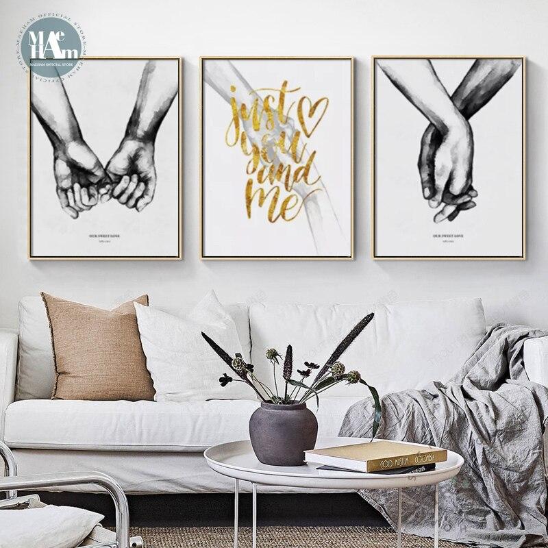 Quadro e branco com as mãos, pôster de tela com impressões, pintura romântica, imagens de arte de parede para sala de estar, decoração minimalista