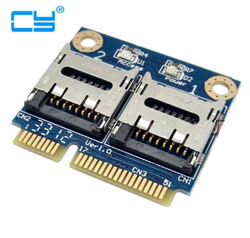 1 Uds. Tarjeta Micro SD Dual TF a Mini PCI-E Express con medio soporte adaptador de lector de tarjetas de memoria