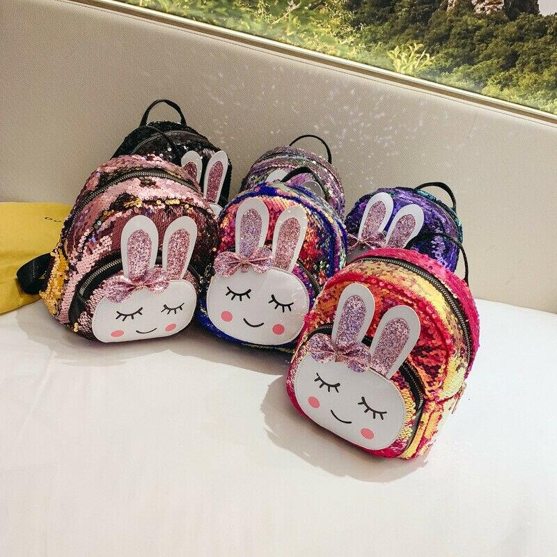 Детский рюкзак с блестками для девочек, блестящий Блестящий рюкзак с кроликом, школьный дорожный рюкзак с мультипликационным принтом, блестящая мини-сумка на плечо из искусственной кожи