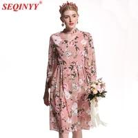 seqinyy runway dress 2018 new fashion high quality womens summer spring flowers printed wrist sleeve a line mini pink dress