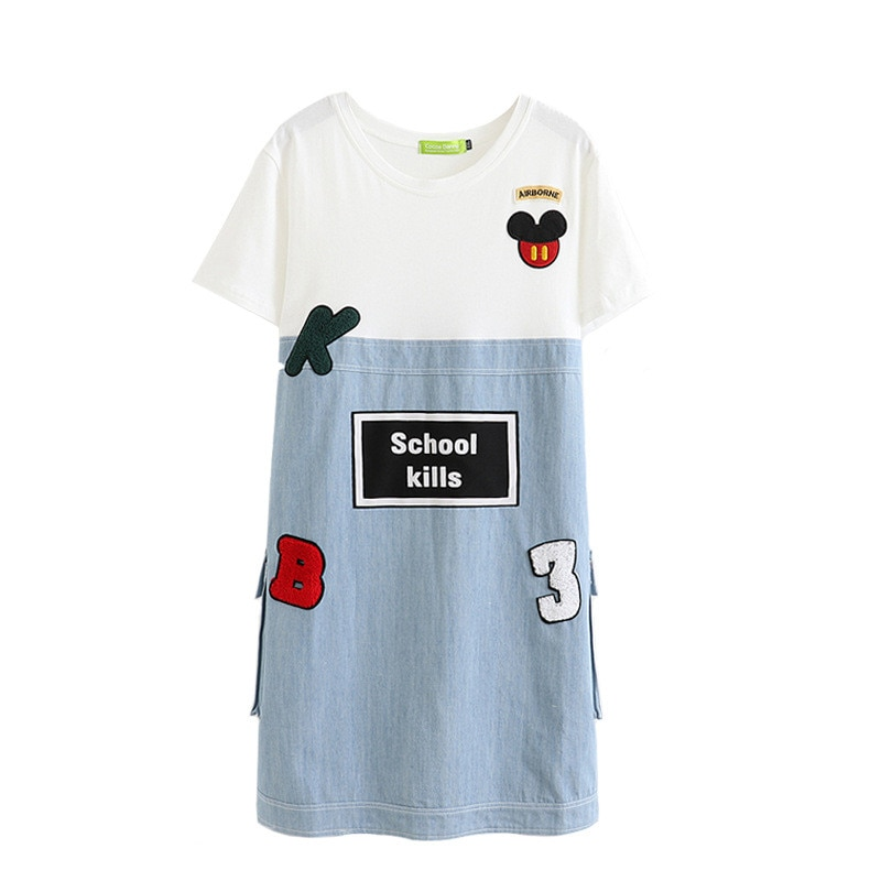 2019 verano vestido de mezclilla de empalme talla grande XXL-5XL mujeres bordado parche Vestido de manga corta estudiantes suelto Casual jean vestido G344