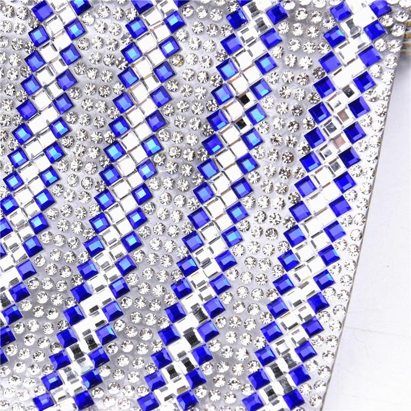 1 hoja de bandas azules 24x40cm Cristal Diamantes de imitación malla ajuste Hotfix Strass cristal transferencia aplique vestido de boda decorativo