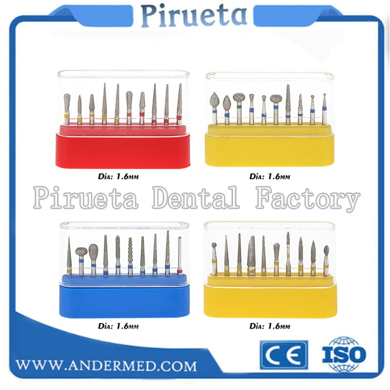 10 Pcs Dental Diamond Burs Medium Set for High Speed Handpiece Turbine Teeth Polishing Bur Dental Equipment