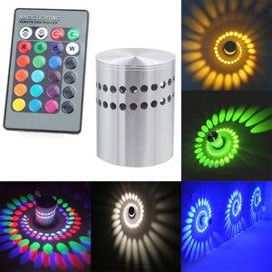 3W RGB LED Light Bulb Spiral Ceiling Wall Lamp Hallway Porch Remote Control Lamp