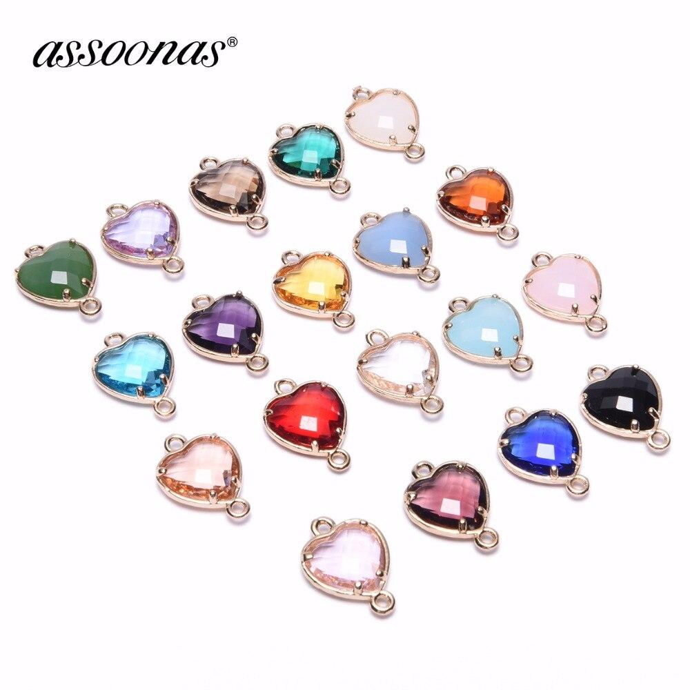 Assoonas M129, accesorios de joyería, fabricación de joyas, piezas de accesorios, collar diy, hecho a mano, encantos, colgante de cristal, 4 unids/lote